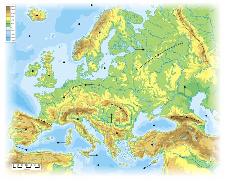 Cartina Fisica Mediterraneo.Europa Carta Fisica